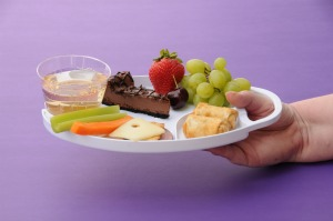 Divided plastic party plates that hold food and drink - from Fun Along the Way.